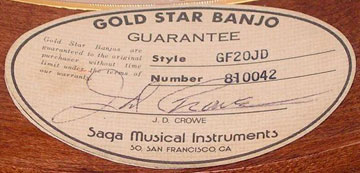 1981 Gold Star JDCrowe banjo from the third 1981 batch with the 2 labels.