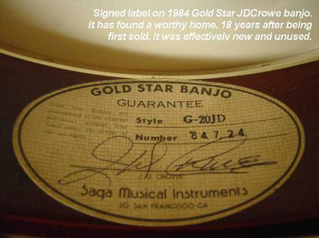 1984 Gold Star JDCrowe banjo from the second 1984 batch.